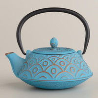 Turquoise Scalloped Teakettle | World Market