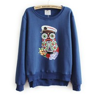 ZLYC Casual Scoop Neck Colorful OWL Pattern Long Sleeve Fleece Hoodie For Women