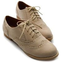 Ollio Womens Shoes Ballet Flats Loafers Faux-Suede Wingtip Oxford Lace Ups (8.5 B(M) US, Beige)