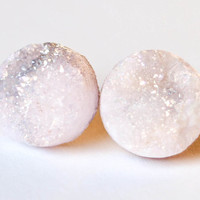Boho Earrings - White Moon - Rainbow Light Roze Toned Raw Druzy Round Quartz Stone Stud Earrings - Post, Jewelry, Wedding Accessories