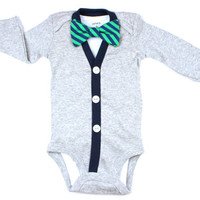 Cardigan and Bow Tie Set  Solid Grey  Navy/Green by HaddonCo