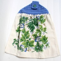 Flowers Herbs Kitchen Towel Crochet Blue Top Double Sided
