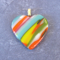 Colorful Glass Heart Jewelry, Rainbow Heart, Romantic Jewelry - Brilliant Colors - 4120-3