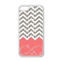 iPhone 5C Case - Coral Infinity Chevron Live the Life You Love, Love the Life You Live Apple iPhone 5C (Cheap IPhone 5) Waterproof TPU Back Cases Covers
