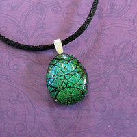 Small Green Pendant, Swirl Design, Sparkly Dichroic Necklace - Spiral Swirls - 4450 -3