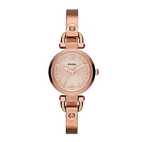 Fossil® Women's Mini Georgia Bangle Watch in Rose Goldtone with Adjust-O-Matic Links at www.younkers.com