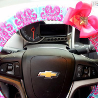 Steering Wheel Covers with Bow. Pink and Teal Damask Cover for your Steering Wheel