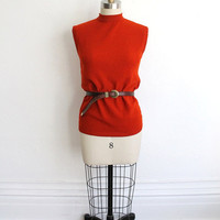 Vintage 60s Rust Orange Knit Sleeveless Turtleneck // Women's Fall Top
