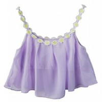 Lookbookstore Women Sweet Daisy Chiffon Overlay Stretch Lavender Bralet Crop Top Bra Bustier US 2