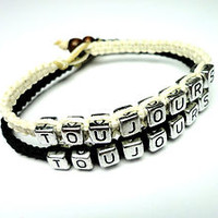 Couples Bracelet Set, Toujours, Forever and Always, His Hers, Black and White