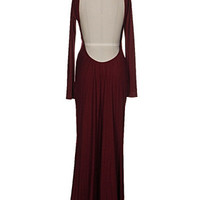 Don't Call It a Comeback Open Back Maxi Dress - Wine -  $48.00 | Daily Chic Dresses | International Shipping