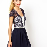 ASOS Scallop Mesh Insert Lace Skater Dress