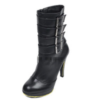 Black Womens Multi Buckles High Heels Platform Shoes Ankle Boot Riding Boots 1ky