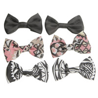 6 On Tribal Print Bow Clips | Shop Accessories at Wet Seal