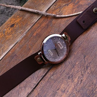Retro style watch,starry sky wrist watch bracelet, Brown Leather Bracelet  Watch, Handmade Women's Watch, Everyday Bracelet  PB083
