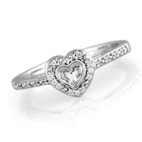 1/8 CT. T.W. Diamond Heart-Shaped Promise Ring in Sterling Silver