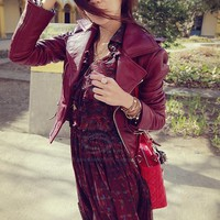 Fashion Lapel Collar Long Sleeves Front Zip PU Leather Biker Jacket For Women