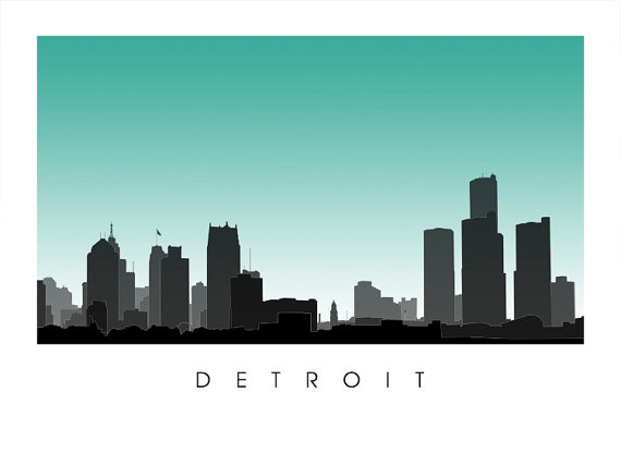 Detroit city skyline michigan poster from cartocreative