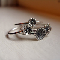 Flower Stacking Rings Set of 2 - Sterling Silver Wildflower Stackers