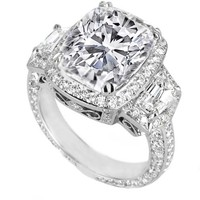 Engagement Ring - Cushion Diamond Vintage Design Halo Engagement Ring Cadillac trapezoids side stones - ES648
