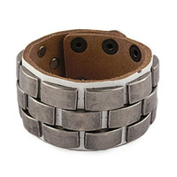 punk style white real leather bracelet with metal rivet, men's jewelry  bangle cuff bracelet, women's leather bracelet  S107-W
