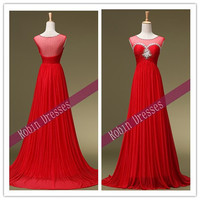 New Prom Dresses, Custom-made Long Sexy Sleeveless Red Prom Dresses Evening Dresses Party Dresses