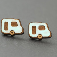 Camper Van Stud Earrings : Cherry Wood Earrings, Camping, Breaking Bad, Teal, Vintage, Retro, ArtisanTree, Caravan