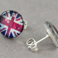 British Flag Earrings : Fake Plugs, Great Britain, England, London, Red, White and Blue, ArtisanTree, Fun, Country, Theme