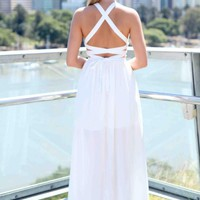 White Criss Cross Back Tie Sleeveless Maxi Dress