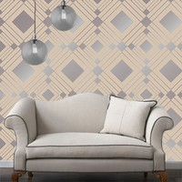 Temporary Wallpaper - Diamond - Metallic Silver/Taupe