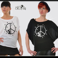 3Elfen Girlie shirt in white or black with bat sleeves