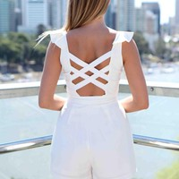 White Cutout Back Ruffle Neck Playsuit
