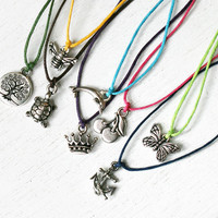 Charm Necklace / Butterfly Necklace / Cross Necklace / Peace Necklace / Bird Necklace / Starfish necklace (Many charms to choose)
