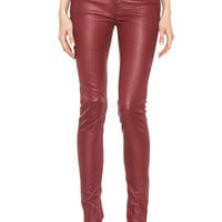 BLK DNM | 5 Pocket Skinny Leather Pant in Blood Red www.FORWARDbyelysewalker.com
