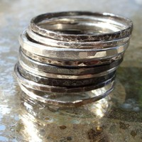 Set of 10 Mixed Antiqued Sterling Silver Stacking Rings