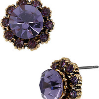 BetseyJohnson.com - ICONIC AMETHYST CRYSTAL GEM EARRING PURPLE