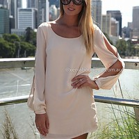BILLOWING 2.0 DRESS , DRESSES, TOPS, BOTTOMS, JACKETS & JUMPERS, ACCESSORIES, SALE, PRE ORDER, NEW ARRIVALS, PLAYSUIT, COLOUR,,CUT OUT,Beige Australia, Queensland, Brisbane