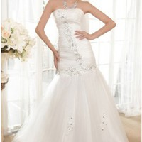Fashion A-line Strapless Chapel Train Beading Wedding Dress