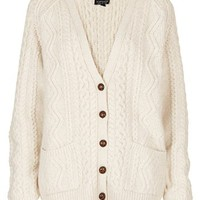 Topshop Cable Knit V-Neck Cardigan | Nordstrom