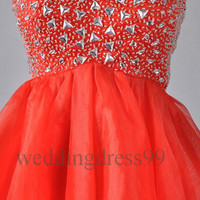 Custom Red Crystals Short Bridesmaid Dresses 2014 Formal Prom Dresses Fashion Evening Gowns Party Dress Cocktail Dress Wedding Party Dress