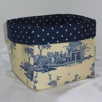 Lovely Buttercream and Navy Toile Fabric Basket