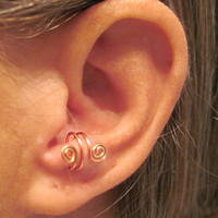 "No Piercing ""Spiraling"" Ear Cuff for Anti Tragus 1 Cuff Color Choices"