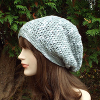 Light Gray Slouch Beanie - Womens Slouchy Crochet Hat - Oversized Merino Wool Cap - Hipster Hat
