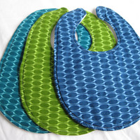 Baby Boy Bib Set (3) - Bright Modern Bibs, Triple Layer Bibs, Bib with Velcro
