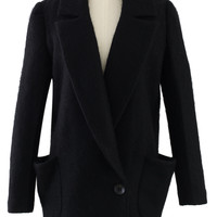 Black Wool One-Button Pea Coat