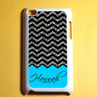 Glitter Chevron Pattern Monogram Ipod Touch 4 Case -  4th Gen Ipod Touch Cases, Cute Monogram ipod case(NOT real glitter)