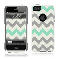 OtterBox Commuter Series Case for iPhone 5/5S - White - Chevron Grey Sea Foam Green