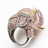 Women&#x27;s Elephant CZ Ring (Pink/Yellow) | Noir | 80&#x27;s Purple