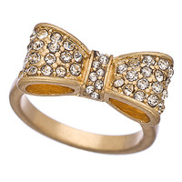 Blu Bijoux Gold and Crystal Bow Ring - Max & Chloe