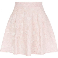 Light pink floral embossed skater skirt